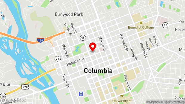 Google Map of 1515 Main Street, Columbia, SC 29201