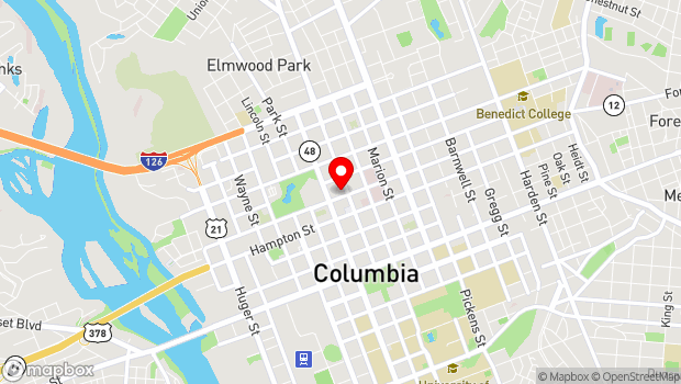 Google Map of 1607 Main Street, Columbia, SC 29201