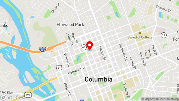 Google Map of 1737 Main Street, Columbia, SC 29201
