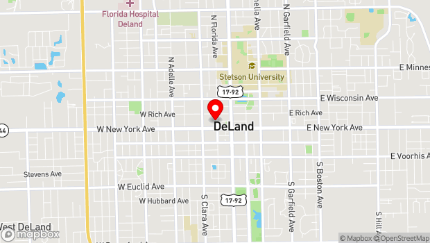 Google Map of 124 North Florida Avenue, Deland, FL 32720