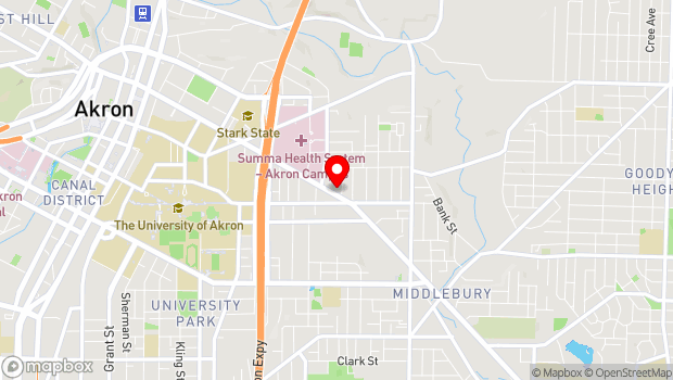 Google Map of 647 E Market St., Akron, OH 44304