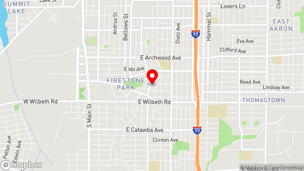 Google Map of 1491 Aster Ave, Akron, OH 44301