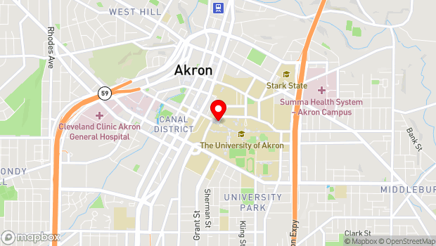 Google Map of 157 University Ave., Akron, OH 44325