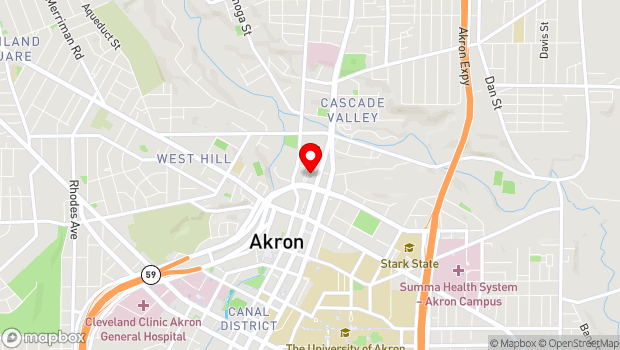 Google Map of 111 North Main Street, Akron, OH 44203