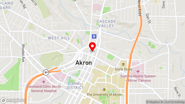 Google Map of 30 N. High St., Akron, OH 44308