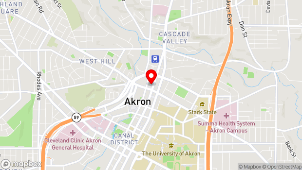 Google Map of 51 E. Market St., Akron, OH 44308