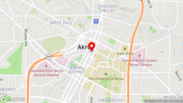Google Map of 103 South High Street, Akron, OH 44308