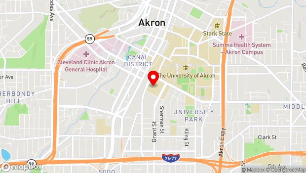 Google Map of 150 East Exchange Street, Akron, OH 44325