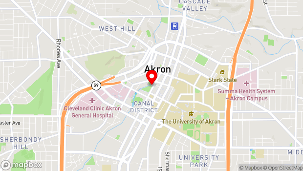 Google Map of 182 South Main Street, Akron, OH 44308