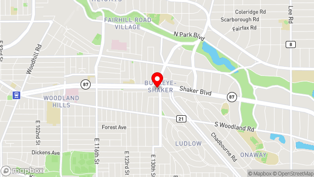 Google Map of 13108 Shaker Square, Cleveland, OH 44120