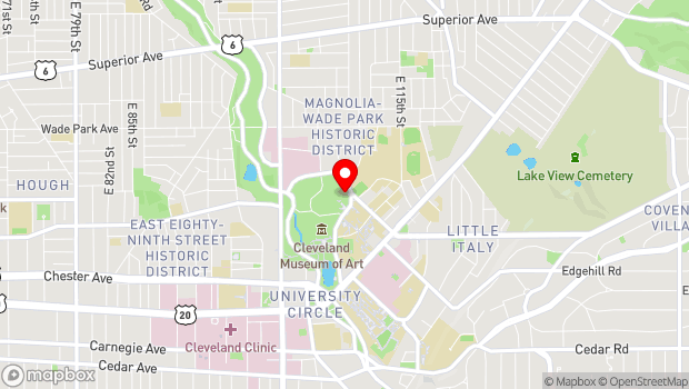 Google Map of 11030 East Blvd., Cleveland, OH 44106