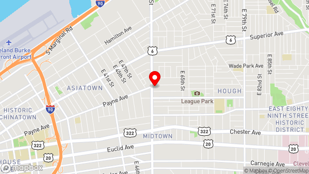 Google Map of 1705 E. 55th Street , Cleveland, OH 44105