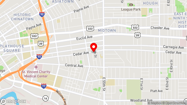 Google Map of 4450 Cedar Ave., Cleveland, OH 44103
