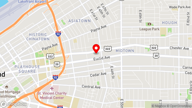 Google Map of 3813 Euclid Ave, Cleveland, OH 44115