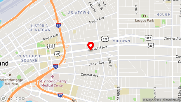 Google Map of 3634 Euclid Avenue , Cleveland, OH 44115