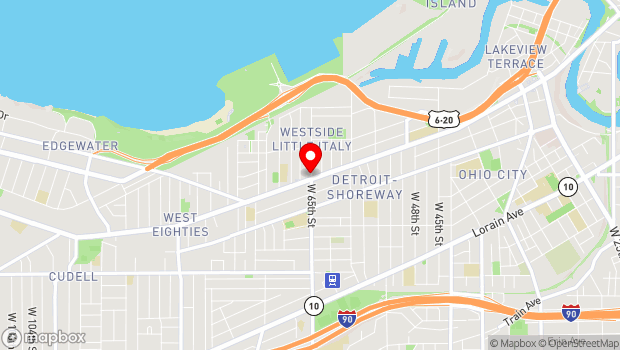 Google Map of 1390 W 65th St, Cleveland, OH 44102