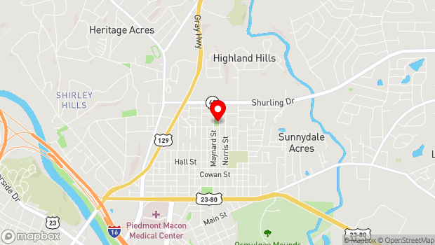 Google Map of 1211 Maynard Street, Macon, GA 31217