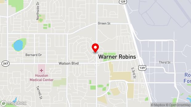 Google Map of 205 North David Drive, Warner Robins, GA 31088