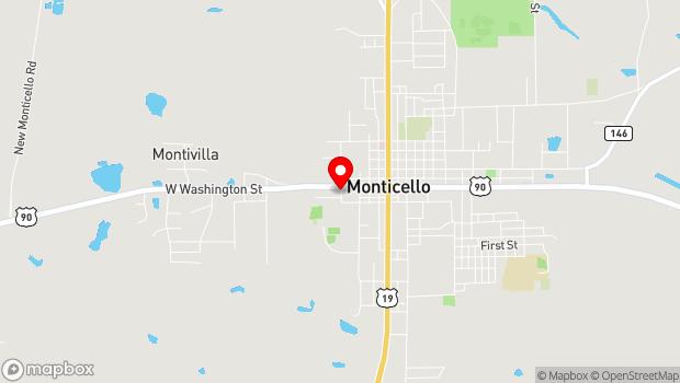 Google Map of 575 West Washington St, Monticello, FL 32344