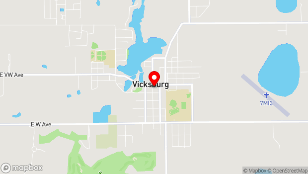 Google Map of 105 S. Main Street, Vicksburg, MI 49097