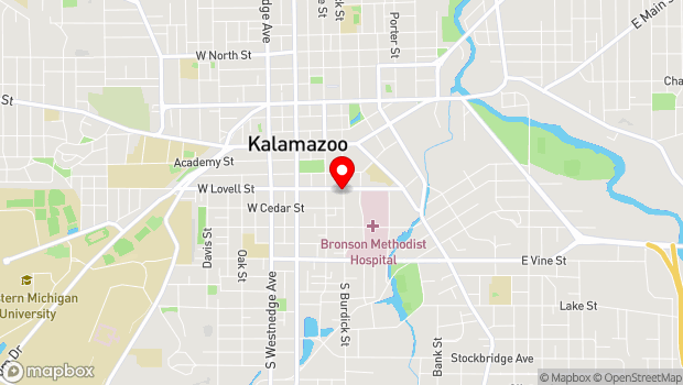 Google Map of 404 S. Burdick, Kalamazoo, MI 49007
