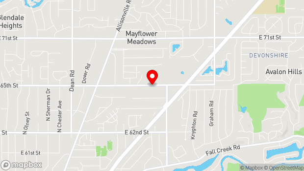 Google Map of 5145 E. 65th St., Indianapolis, IN 46220