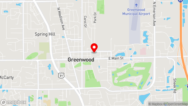 Google Map of 299 E. Broadway, Greenwood, IN 46143