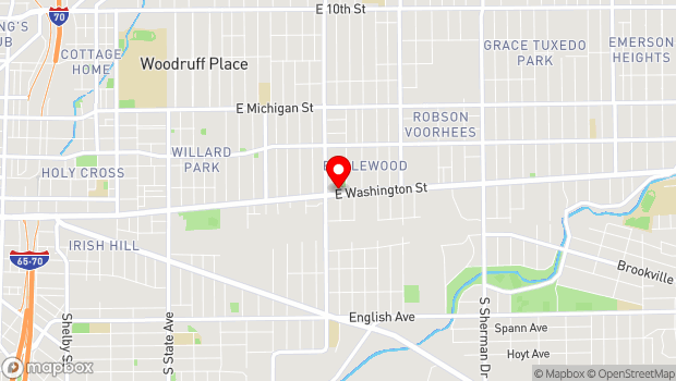 Google Map of 2834 East Washington Street, Indianapolis, IN 46201