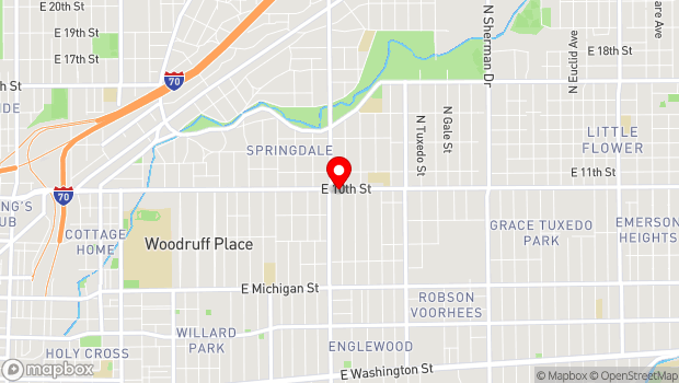 Google Map of 2827 East Tenth Street, Indianapolis, IN 46201
