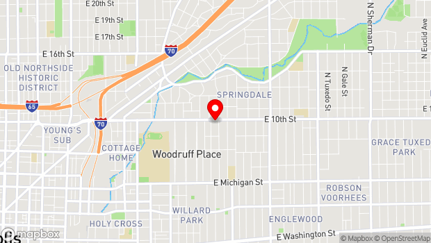 Google Map of 2121 E. 10th Street, Indianapolis, IN 46201