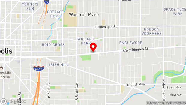 Google Map of 2102 East Washington St., Indianapolis, IN 46201