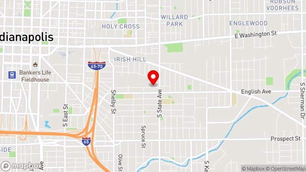 Google Map of 1604 Deloss Street, Indianapolis, IN 46201