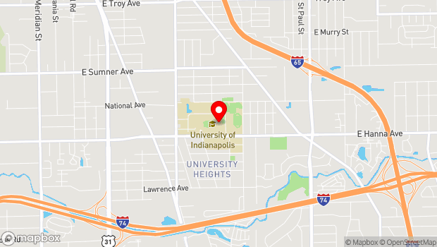 Google Map of 1400 East Hanna Avenue, Indianapolis, IN 46227