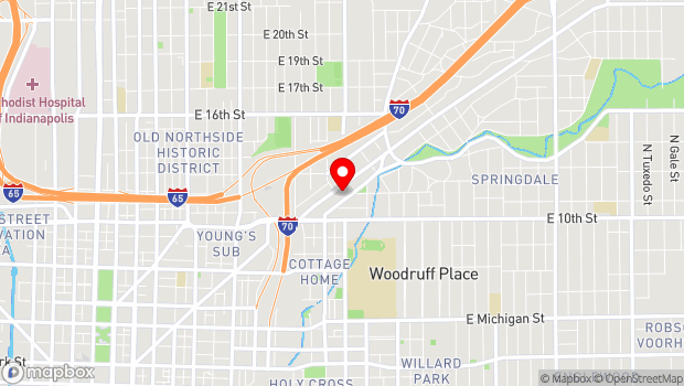 Google Map of 1125 E Brookside Ave, Indianapolis, IN 46202