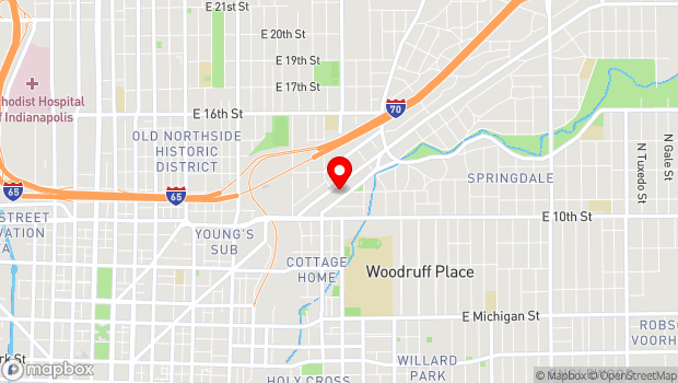 Google Map of 1125 Brookside Ave., Indianapolis, IN 46202