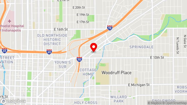 Google Map of 1125 BROOKSIDE AVENUE, Indianapolis, IN 46202