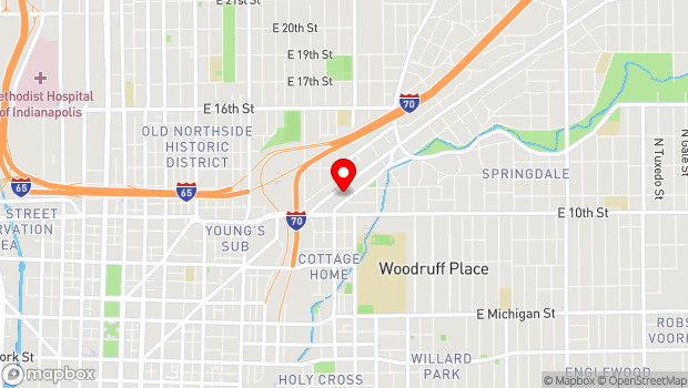 Google Map of 1125 Brookside Avenue, Suite B25, Indianapolis, IN 46202