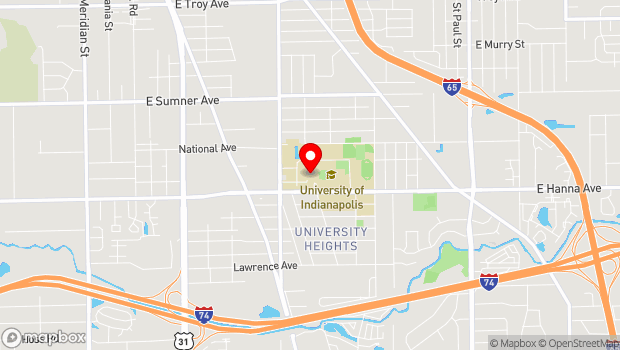 Google Map of 1400 E. Hanna Ave., Indianapolis, IN 46227