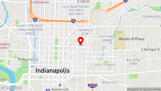 Google Map of 627 Massachusetts Ave., Indianapolis, IN 46204