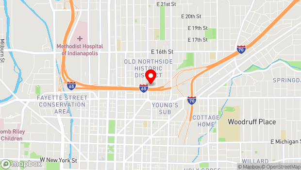 Google Map of 1201 Central Avenue, Indianapolis, IN 46202