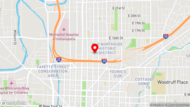 Google Map of 1305 N. Delaware, Indianapolis, IN 46202