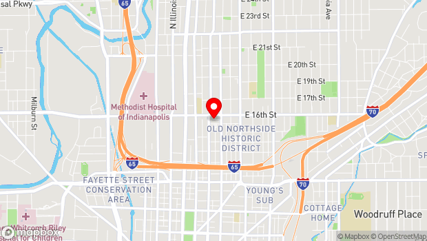 Google Map of 1505 Delaware Street, Indianapolis, IN 46202