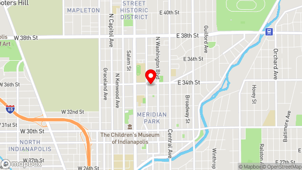 Google Map of 121 E. 34th Street, Indianapolis, IN 46205