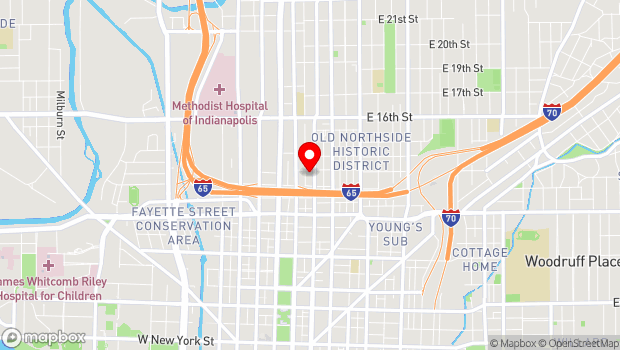Google Map of 1230 N. Delaware St., Indianapolis, In 46202