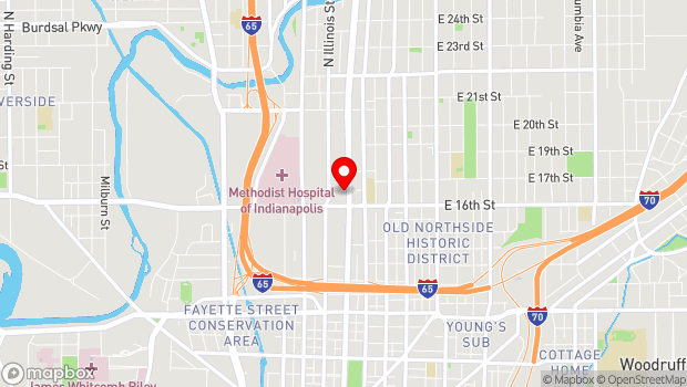 Google Map of 1630 North Meridian Street, Indianapolis, IN 46202