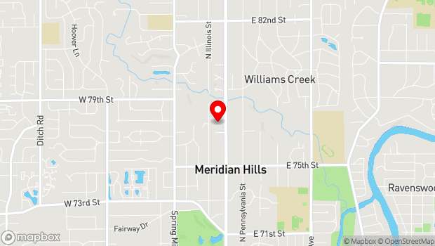 Google Map of 7700 N Meridian St, Indianapolis, IN 46260