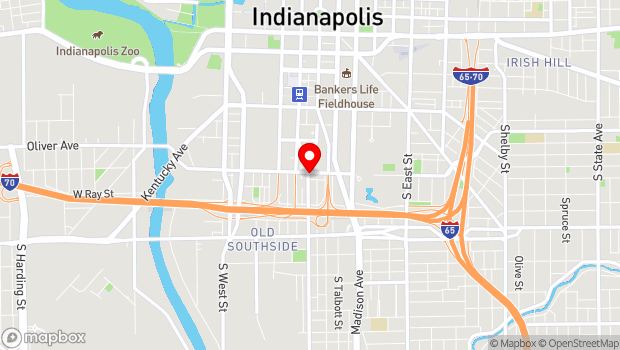 Google Map of 805 S. Meridian Street, Indianapolis, IN 46225