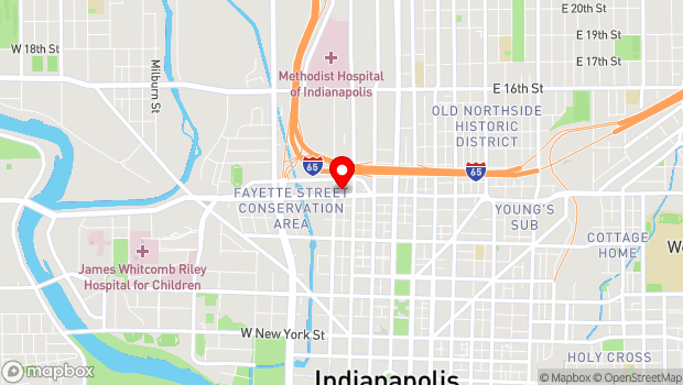 Google Map of 212 West 10th Street, Suite B-110, Indianapolis, IN 46202