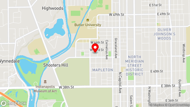Google Map of 615 W. 43rd St, Indianapolis, IN 46208