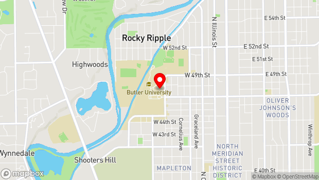 Google Map of 4600 Sunset Ave (Lilly Hall 168), Indianapolis, IN 46208